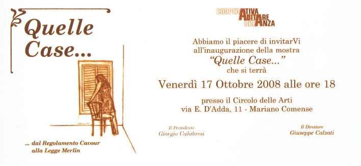 """Invito alla mostra """"""""Quelle Case"""" dedicata alla chiusura delle Case Chiuse"""